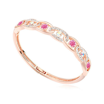 Etcetera plum red & rose gold diamond decorated interlocking design alloy Crystal Bracelets