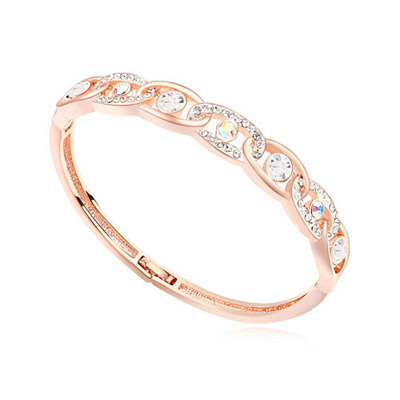 Kids white & rose gold diamond decorated interlocking design alloy Crystal Bracelets