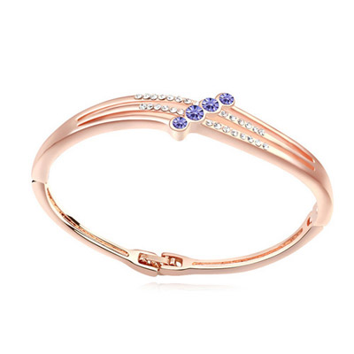 Electronic pinkish purple & rose gold diamond decorated simple design alloy Crystal Bracelets