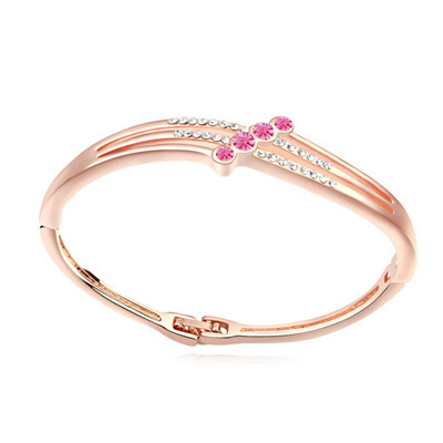 Hiphop plum red & rose gold diamond decorated simple design alloy Crystal Bracelets