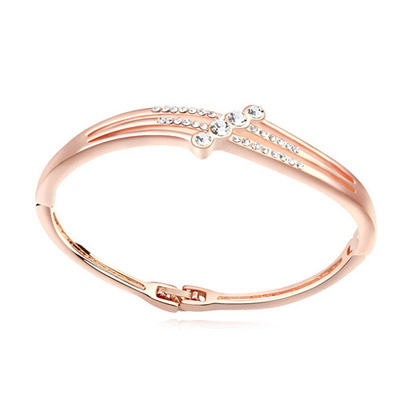 Scottish white & rose gold diamond decorated simple design alloy Crystal Bracelets