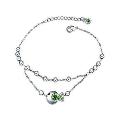 Marathon olive green diamond decorated fish shape design alloy Crystal Bracelets