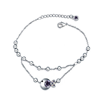 Corporate pinkish purple diamond decorated fish shape design alloy Crystal Bracelets