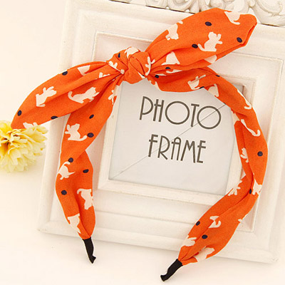 Simple orange bowknot decorated cat pattern design fabric Hair band hair hoop