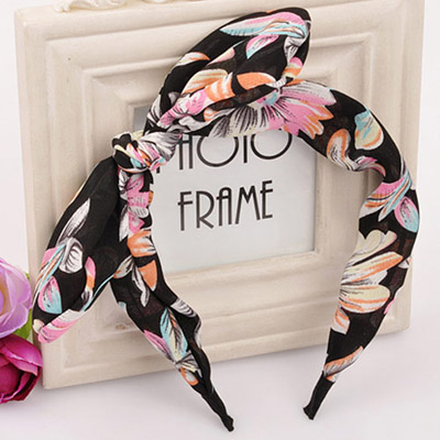 Automatic mutlicolor bowknot decorated large flower pattern design fabric Hair band hair hoop