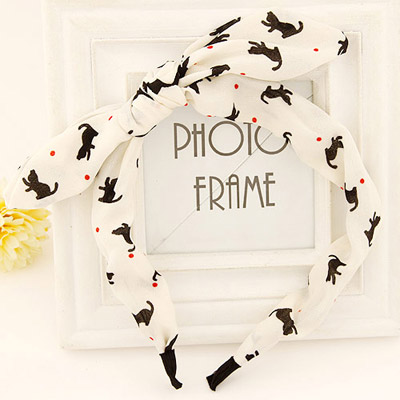 Maxi white bowknot decorated cat pattern design fabric Hair band hair hoop