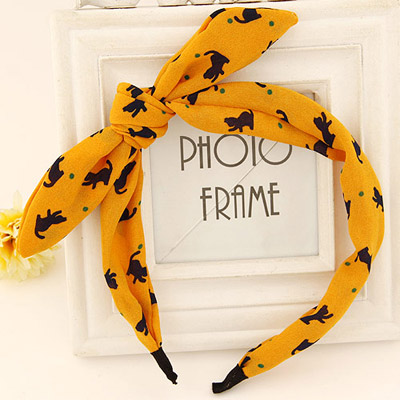 Timeless yellow bowknot decorated cat pattern design fabric Hair band hair hoop
