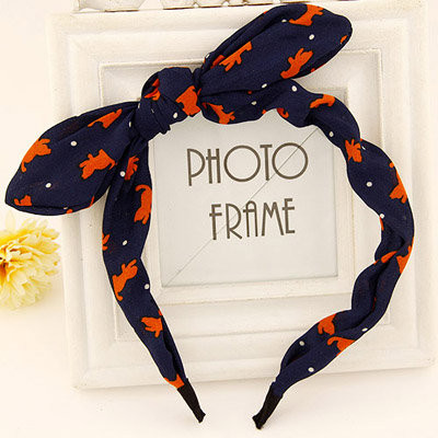 Winding dark blue bowknot decorated cat pattern design fabric Hair band hair hoop