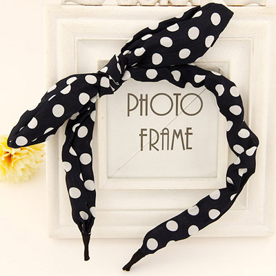Human black & white bowknot decorated dot design fabric Hair band hair hoop