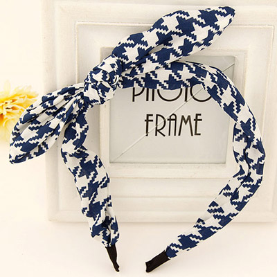 Victorian blue & white bowkont decorated irregular pattern design fabric Hair band hair hoop