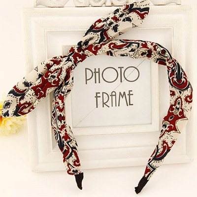 Athena khaki & claret bowknot decorated leaf pattern design fabric Hair band hair hoop