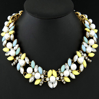 Synthetic blue & yellow pearl decorated simple design alloy Bib Necklaces