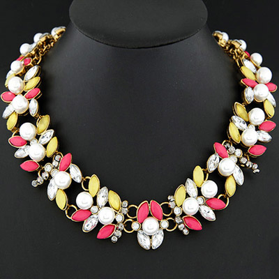Formal plum red & yellow pearl decorated simple design alloy Bib Necklaces