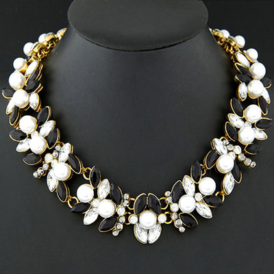 Brown black & white pearl decorated simple design alloy Bib Necklaces