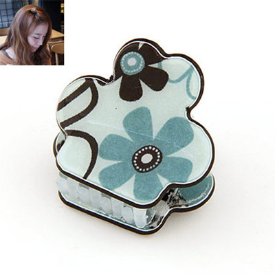 Extra light blue flower pattern decorated simple design alloy Hair clip hair claw
