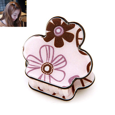 Wide pink flower pattern decorated simple design alloy Hair clip hair claw