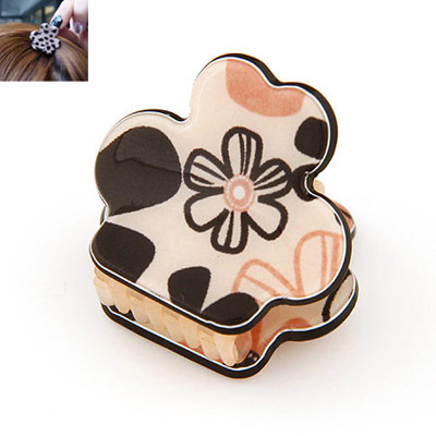 Funky black flower pattern decorated simple design alloy Hair clip hair claw