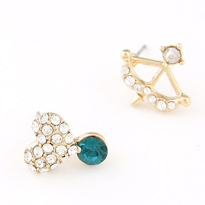 Personaliz blue diamond decorated heart shape design alloy Stud Earrings