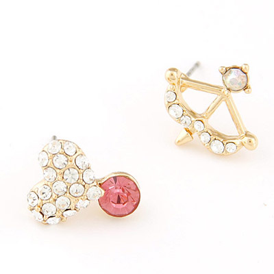 Engraved light plum red diamond decorated heart shape asymmetry design alloy Stud Earrings