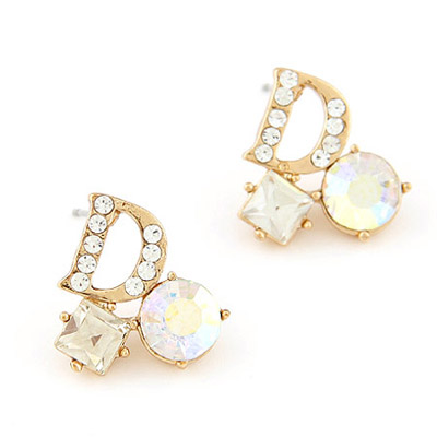 Montgomery white diamond decorated letter D shape design alloy Stud Earrings