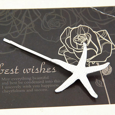 Tattoo Silver Color Starfish Shape Decorated Simple Design Alloy Hair clip hair claw