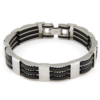 Ferret Black Stripes Decorated Stitching Design Stainless Steel Korean Fashion Bracelet