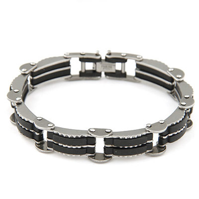 Royal Black Stripes Decorated Stitching Design Stainless Steel Korean Fashion Bracelet