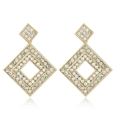 Top Rated Multicolor Diamond Decorated Square Shape Design Alloy Stud Earrings