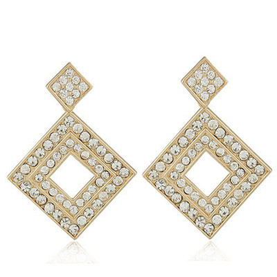 Glossy White Diamond Decorated Square Shape Design Alloy Stud Earrings