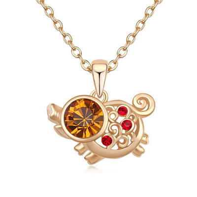 Elephant Light Peach & Champagne Gold Diamond Decorated Pig Pendant Design Alloy Crystal Necklaces