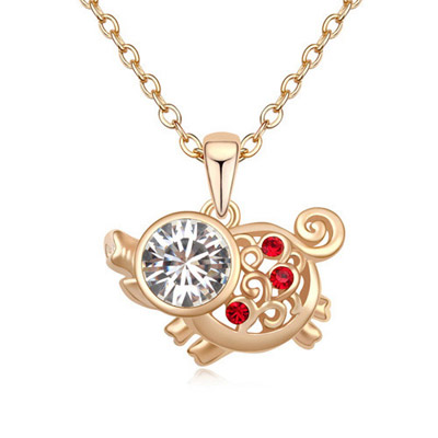 Invitation White & Champagne Gold Diamond Decorated Pig Pendant Design Alloy Crystal Necklaces