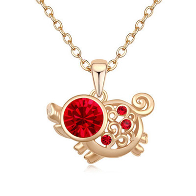 Lush Light Red & Champagne Gold Diamond Decorated Pig Pendant Design Alloy Crystal Necklaces