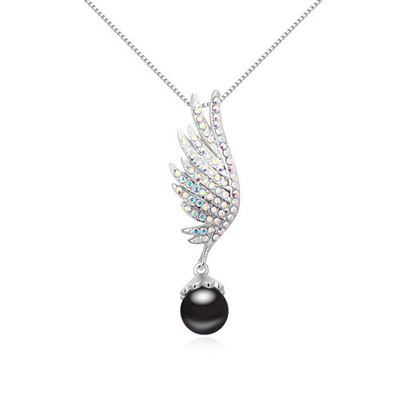 Chic Black Pearl Decorated Wing Shape Design Alloy Crystal Necklaces