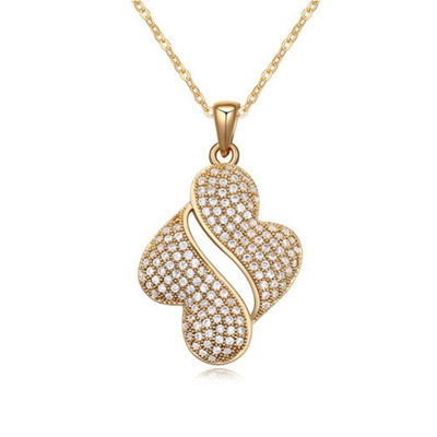Ultra White & Champagne Gold Diamond Decorated Simple Design Alloy Crystal Necklaces