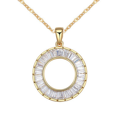 Waist White & Champagne Gold Round Pendant Simple Design Alloy Crystal Necklaces