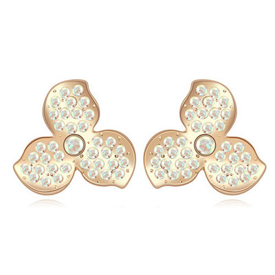 Uniform Color White & Champagne Gold Diamond Decorated Clover Shape Design Alloy Crystal Earrings