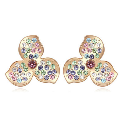 Tungsten Multicolor & Champagne Gold Diamond Decorated Clover Shape Design Alloy Crystal Earrings
