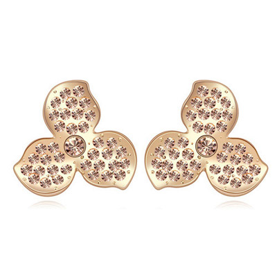 Standard Light Peach & Champagne Gold Diamond Decorated Clover Shape Design Alloy Crystal Earrings