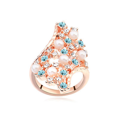 Monogramme Navy Blue & Rose Gold Diamond Decorated Geometrical Shape Design Alloy Crystal Rings