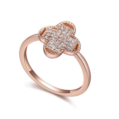 Correspond White & Rose Gold Diamond Decorated Clover Shape Design Zircon Crystal Rings