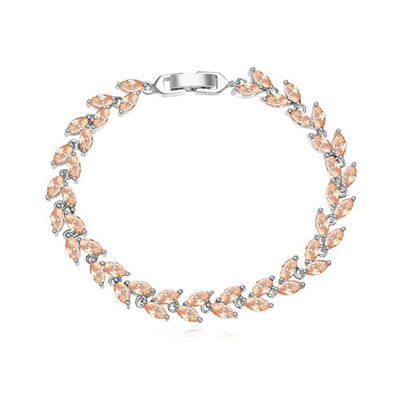 Juniors Champagne Diamond Decorated Leaf Shape Design Zircon Crystal Bracelets
