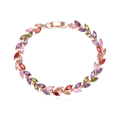Masonic Multicolor & Rose Gold Diamond Decorated Leaf Shape Design Zircon Crystal Bracelets