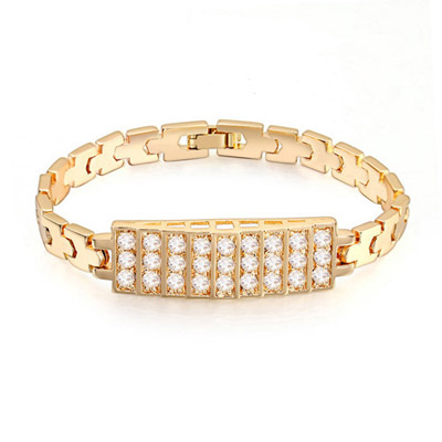 Pearl White & Champagne Gold Diamond Decorated Rectangular Shape Design Zircon Crystal Bracelets