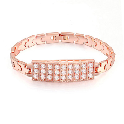 Pentacle White & Rose Gold Diamond Decorated Rectangular Shape Design Zircon Crystal Bracelets