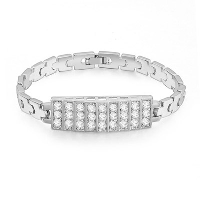 Pagan White Diamond Decorated Rectangular Shape Design Zircon Crystal Bracelets