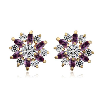 Velvet Purple & Champagne Gold Diamond Decorated Flower Design Zircon Crystal Earrings