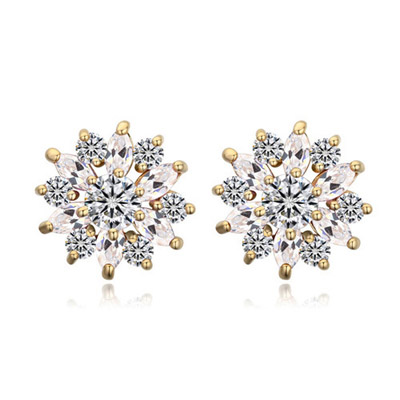 Cranes White & Champagne Gold Diamond Decorated Flower Design Zircon Crystal Earrings