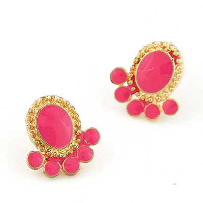 Healing Plum Red Squid Shape Simple Design Alloy Stud Earrings