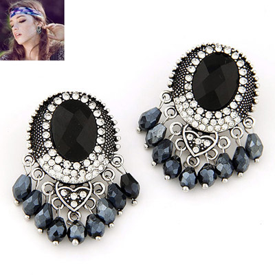 Torrid Black Diamond Decorated Oval Shape Design Alloy Stud Earrings