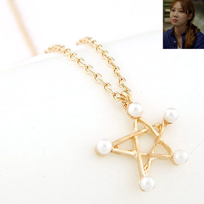 Infinity Gold Color Pearl Decorated Star Pendant Design Alloy Chains